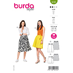 A true wrap skirt in 2 different lengths and with varying details: View A is fastened with tie bands and D-rings. View B is more fanciful with knotted bands. Fabrics:  Viscose-rayon, crêpe fabrics, lightweight cotton fabrics.