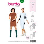 Two chic and figure fitting dresses in different styles. View A covers the knee, and also includes a back vent and 3/4-sleeves in trendy color blocking. View B, a bit shorter, features short sleeves and sporty styling in a solid color. Recommended Fabrics: Use only fabrics with elastane.