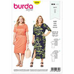 Figure flattering jersey dresses with a slightly blouse-like top and slim skirt. Camouflage your waist with a draped front - or accent it with a belt if you prefer. Suggested Fabrics: Two-way stretch jersey only, view A with two 'good' sides