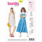 Airy summer dresses to show off pretty shoulders either with spaghetti straps or a round neckline and bell-shaped skirt. It's not easy to choose between them.  Suggested Fabrics: Cotton fabrics, lightweight denims, viscose-rayon