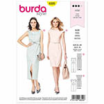 Two stylish summer dresses with slim lines. A waist seam and darts sculpt each to your figure. The longer dress view A is sleeveless and features a decorative shaped belt which is tied in front. The shorter style is adorned with cap sleeves and accented at the waist with a narrow buckled belt. Suggested Fabrics: Crêpe fabrics, bouclè, blends