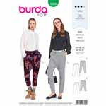 The new lightweight pants/trousers are young and trendy, worn low on the hips and feature a low cut crotch. View A includes zipped side slits on the legs. View B is ankle free. Fabrics: Lightweight wools, cotton fabrics, viscose-rayon