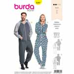 Relax at home in a comfy jumpsuit sewn yourself - make it up in cuddly sweatshirting for both ″Him″ und ″Her″. View A is detailed with elastic at the waist. View B sports a kangaroo pocket and is made up of two fabrics, tone in tone. Fabrics: Jersey, sweatshirting