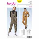 Casual jumpsuit with narrow legs, a V-neck and a long zip for easy wearing. Sleeveless style view A coordinates nicely with roll neck tops or shirts and blouses. Use a belt to nip in the waist. View B features lovely cuffed sleeves, elastic at the waist and patch pockets.