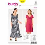 Two-way stretch jersey will allow a dress to hug your figure and be wonderfully comfortable at the same time. Both styles are flared at the hem. The front of the dress makes the difference. View A has integral tie bands knotted in front. View B is gathered at the bust.