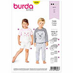 A fun pyjama outfit for kids. Paint the front of the long or short sleeved top with a cat or bear face. The elastic waist bottoms in two lengths feature curved pocket openings.  Suggested Fabrics: Two-way stretch jersey only, lightweight sweatshirting