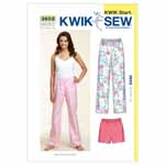 Designed for lightweight woven fabrics. Suggested Fabrics: Cotton, cotton types, broadcloth, chambray, flannel. Misses' sleep pants and shorts have elastic in casing at waist. Pants and shorts are very easy to make and have special easy-to-follow sewing instructions.