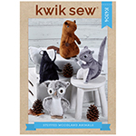 Friendly stuffed squirrel, skunk, beaver and owl are easy to sew using minky fleece fabric and craft felt. Animals range from 8.5″ to 10.5″ tall, soft enough to cuddle and sit securely for display.