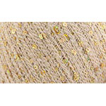 Cotton Gold features a simple cotton thread strung with sequins and wrapped in a strand of gold or silver glitter. 165m (180yds) and 25g (.89oz). 65% Cotton, 8% Metallic, 27% Payette. Hand wash warm, dry flat. 5 balls/bag. The recommended knitting needle is 2.25mm (US size 1) = 30 sts x 40 rows = 10cm (4″) in ST st. The recommended crochet hook is 2.75mm (US size C-2) = 23 sc x 30 rows = 10cm (4″). Remember to ALWAYS check tension/gauge before beginning your project.