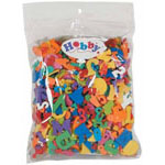 Bag includes letter shaped foam pieces in a variety of colours and sizes - 30 g.