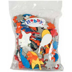 Bag includes an assortment of shaped foam pieces in a variety of colours and sizes - 30 g.