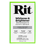 Rit Whitener & Brightener safely whitens whites and brightens colours without bleach. It's ideal for whites with coloured trims and safe for all washable and colourfast fabrics, including cotton, polyester blends, rayon, nylon, linen and silk. Add Rit Whitener & Brightener with your detergent to keep fabrics their whitest and brightest.
