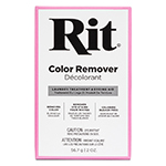 Rit Color Remover is used primarily to remove or reduce color from fabric prior to dyeing with Rit Dye. It reduces the colour to an off-white or cream colour, creating a clean, even base colour for dyeing. Color Remover is suitable for use on most washable fabrics, including cotton, linen, rayon, silk, and nylon. It may have a limited effect on polyester, depending upon how it was dyed commercially. Color Remover is a non-chlorine, reductive type of bleach that will not damage or deteriorate washable fabrics as chlorine bleach will. The stovetop method is the most effective at removing colour, maintaining a constant simmer throughout the process. Some fabrics lose their colour in as fast as 10 minutes, others can take an hour or two to achieve a cream colour. Light colour changes, such as brightening or removing stains from white fabrics, can be achieved using Color Remover in a washing machine. Color Remover will not remove the pattern or print from a fabric or the indigo dye from denim.
