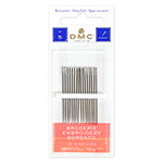 "DMC Embroidery Needles are 1 <sup>1</sup>&frasl;<sub>4</sub> "" – 1 <sup>1</sup>&frasl;<sub>2</sub> "" long and are made of premium grade nickel plated steel. DMC Art. 1765/4."