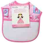 "Each bib features a fun and unique princess design that will compliment the heart-warming stitching to make for a special gift. Bibs are 100% cotton and feature a 14 count aida fabric pocket that measures 4.75"" x 8.25"". Hook & loop closure. A FREE design is included allowing stitchers to personalize each bib to give as a gift or to keep for their own child."