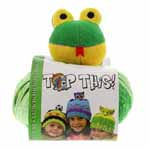 A fun new whimsical glow-in-the-dark yarn with a mixture of 3 continuous textures and colours and the most adorable coordinating character to top the knitted hat. Kit includes one ball of 3 continuous textures and colours (approx. 80 g) - 41% acrylic / 31% polyester / 28% nylon yarn, one character hat topper and easy instructions for knitting and adding the topper.