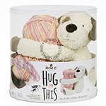 DMC Hug This! is a super-soft and fluffy plush toy that hugs a plump skein of variegated yarn just right for knitting a blanket. When you finish the blanket, roll it up and tuck into the toy's open arms for a special gift. Includes 100% polyester plush toy and 100% acrylic variegated yarn (700m).