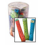 "Tub includes 40 pieces of 150cm (60"") tape measures in 3 assorted colours. Includes both metric and imperial."