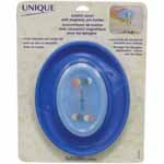 Transparent pin holder lid is child resistant. Extra strong magnetic field makes for easy pick-up even on carpet.