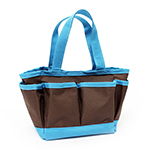 This mini tote bag will help keep you organized.  Features; interior pocket with zipper and 6 exterior pockets.