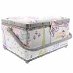 VIVACE Medium Rectangular Sewing Baskets offer an ideal solution for your storing needs. Complete with a built-in pin cushion, handy elasticized pouch, and removable plastic tray, this organized basket has a place for everything. Its magnetic snap closure and large handle allow for quick and easy transport while the built in feet suit a stationary set-up. Available in a variety of fresh prints and vibrant colours, you are sure to find a basket that suits your style.