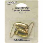 2 suspender clips. Gold.