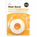 HeatnBond Soft Stretch<sup>TM</sup> Ultra is a no-sew, permanent, lightweight iron-on web adhesive specially designed to move with your stretch fabric while maintaining a strong bond with no sewing needed! There is no added bulk and maintains a soft hand after fusing. Great to use with appliques, knits, stretch denim, spandex, jersey fabrics, fleece and flannel. Machine wash cold delicate cycle and tumble dry on low heat or no heat. Dry Cleanable. Avoid repeated or excessive ironing to the area after fusing. 16mm x 9.1m (<sup>5</sup>&frasl;<sub>8</sub>&quot; x 10yd) tape.