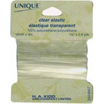Clear polyurethane elastic maintains excellent strength and elasticity when sewn through. Chlorine, salt, and urine resistant. Ideal for swimwear, babywear, activewear, lingerie, or as shoulder hangers for knit tops. Use to add lightweight stretchability without bulk or gathering. Can be used in necklines to hold shape.