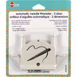 Auto needle threader with dual size barrels makes threading needles easy. For medium and large eye needles.