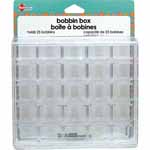 This see-through bobbin box keeps up to 25 bobbins securely stored with trhead facing up for quick and easy selection.