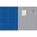 Double-sided mat. Side 1 is a grey mat with lines and black angle markings with imperial measurements.  Side 2 is blue with white lines and metric measurements. Mat: 20″ x 26″ (52 x 66 cm). Grid:  18″ x 24″ (46 x 61 cm)
