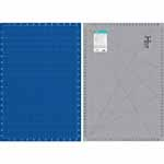 "Double-sided mat. Side 1 is a grey mat with lines and black angle markings with imperial measurements.  Side 2 is blue with white lines and metric measurements. Mat: 26"" x 38"" (66 x 97 cm). Grid:  24"" x 36"" (61 x 92 cm)"