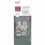 Spiral shaft, nickel plated tempered steel in a blister pack. Used to secure slipcovers, upholstery, bedskirts, doilies and quilting and crafting projects.