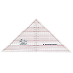 "The perfect ruler for cutting outside triangles for blocks up to 10"". Essential for designs where the blocks are set on-point. Use also to cut 90°, quarter square triangles, from strips and save fabric. Easy to use and very accurate. Laser cut for an accurate and smooth finish. White frosted backing. Red grid with black writing."