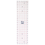The most popular size multi-purpose ruler for all rotary cutting and general measurement work. Laser cut for an accurate and smooth finish. White frosted backing. Red grid with black writing.