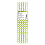 The non-slip ruler for quilting, sewing and crafts. 5″ x 20″ with highlights for cutting multiple 5″ size pieces. 45-degree angle markings for bias cuts. Transparent, neon green double-sight lines that seem to glow on both light and dark fabrics.. Non-slip backing.