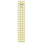 "3"" x 18"" ruler is great for cutting strips, shapes & bias pieces. Includes 30°, 45° and 60° angles. Made of strong and durable premium quality acrylic plastic. Unique black and yellow double sight lines for easy viewing when working with light and dark fabrics. Laser cut to within 0.002"" accuracy with a smooth finish. Specially designed for right and left handed use."