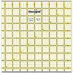 Includes extra <sup>1</sup>⁄<sub>2</sub>″ for seam allowances and a diagonal angle line. Use to cut, square & trim blocks or for cutting borders and triangles. Made of strong and durable premium quality acrylic plastic. Unique black and yellow double sight lines for easy viewing when working with light and dark fabrics. Laser cut to within 0.002″ accuracy with a smooth finish. Specially designed for right and left handed use.