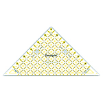 Half square triangle for <sup>1</sup>⁄<sub>2</sub>″ square up to 6″ finished blocks with <sup>1</sup>⁄<sub>4</sub>″ seam allowance built in! Made of strong and durable premium quality acrylic plastic. Unique black and yellow double sight lines for easy viewing when working with light and dark fabrics. Laser cut to within 0.002″ accuracy with a smooth finish. Specially designed for right and left handed use.