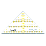Quarter square triangle for <sup>1</sup>⁄<sub>4</sub>″ square up to 8″ finished blocks with <sup>1</sup>⁄<sub>4</sub>″ seam allowance built in! Made of strong and durable premium quality acrylic plastic. Unique black and yellow double sight lines for easy viewing when working with light and dark fabrics. Laser cut to within 0.002″ accuracy with a smooth finish. Specially designed for right and left handed use.