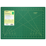 Single sided self-healing cutting mat. Anti-slip coating creates friction between mat and table for safe use. Convenient 30°, 45° & 60° angle markings. Unique interlocking design ensures the mat surface remains flat and smooth when open. For use with rotary blades and fixed-blade knives.