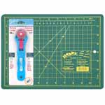 "This starter kit is ideal for sewers, quilters and crafters alike. Cuts multiple layers easily. Includes 1 self healing cutting mat in a handy, portable 9"" x 12"" size and a durable 28mm rotary cutter."