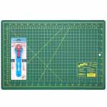 "This is ideal for sewers, quilters and crafters alike. Cuts multiple layers easily. Includes 1 self healing 12"" x 18"" cutting mat and a durable 28mm rotary cutter."