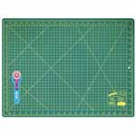 "This kit is ideal for sewers, quilters and crafters alike. Cuts multiple layers easily. Includes 1 self healing 18"" x 24"" cutting mat and a durable 45mm rotary cutter."