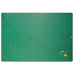 "Single ply. Double-sided mat includes both imperial and metric on gridded side and a blank cutting surface on the other side. Self-healing. Convenient 45° and 60° markings. Mat: 23 1/2"" x 35 1/2"" (60 x 90 cm). Grid:  23"" x 35"" (58 x 89 cm)"