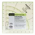 "8"" x 8"" non-slip ruler for quilting, sewing & crafts with handy grooves for cutting circles. For use with 28mm Rotary Cutter. Finished size 4"" to 12"". Includes easy to read angle markings. transparent, neon green double-sight lines that seem to glow on both light and dark fabrics.. Non-slip backing."