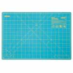 "Whether you're new to crafting or a pro, you'll appreciate this OLFA® rotary mat. It not only protects your cutting surfaces, it protects the edges of rotary blades. The mat's grid lines are designed for easy measuring and accurate cutting of straight lines and precise angles. Good For: protecting cutting surfaces and extending the life of your rotary blades. 1.5mm thick. Double-sided mat is solid on one side for general crafting and has grid lines on other side for detailed cutting. Self-healing finish reseals surface cuts, providing a continually smooth surface for all cutting projects. Store flat and out of direct sunlight. For use only with rotary blades and blades; fixed-blade knives blade may damage mat. Mat: 12 1/2"" x 19"" (31.5 x 48.7 cm). Grid: 12"" x 18"" (30.5 x 45.7 cm)"