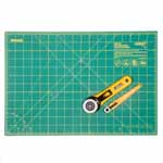 This OLFA® craft kit has all the basics you'll need: two cutters and a mat. The self-healing mat has a finish that automatically reseals surface cuts, keeping the surface smooth. The kit makes a great gift for beginners or even professionals who may need to update their equipment. Good For: cutting strips and multiple layers at once. Cuts fabric, paper, tarp, vinyl, upholstery and more.