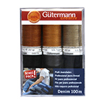 6 spools of Gutermann professional jeans thread made of 100% Polyester.