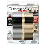 12 spools of Gutermann's most popular neutral colours of 100m Sew-All thread.